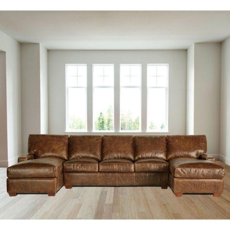 Restoration Full-Grain Vintage Leather Craftsman Sectional Sofa