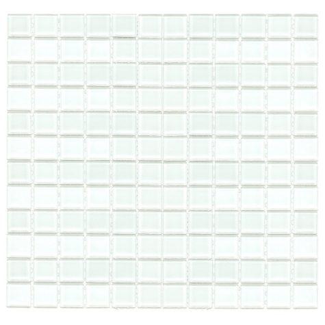 """1"""" White Mosaic Glass Tile - 6 pk. - 12"""" x 12"""" Sheets"""