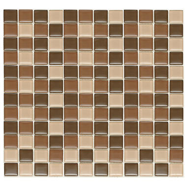 Chocolate Mosaic Glass Tile - 6 - 12