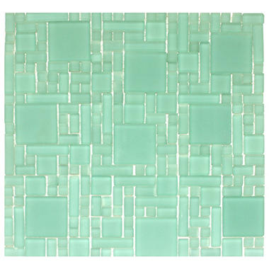 Frosted Green Mosaic Glass Tile - 6 - 12