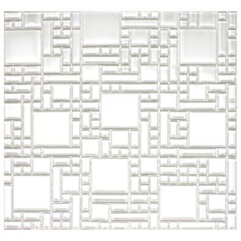 """White Pattern Mosaic Glass Tile - 6 - 12"""" x 12"""" Sheets"""