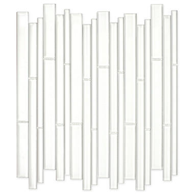 White Bamboo Mosaic Glass Tile - Sample
