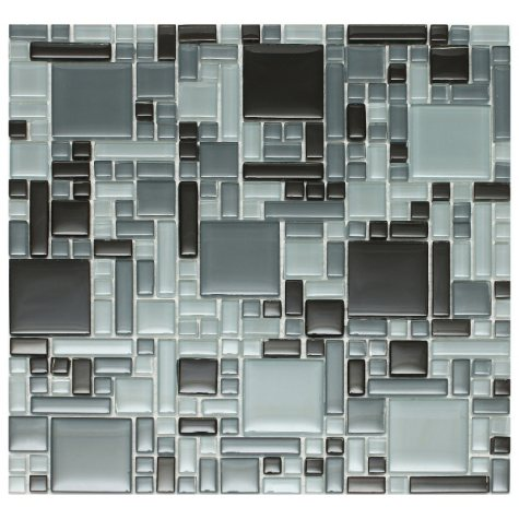 Mixed Black Mosaic Glass Tile - Sample