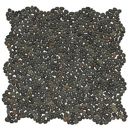 Small Black Mosaic Pebble Tile - Sample