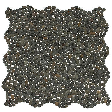Small Black Mosaic Pebble Tile - Sample