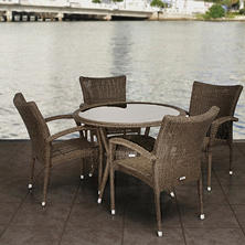 Catalunya Round Distressed gray Synthetic Wicker Patio Dining Set (5 pcs.)