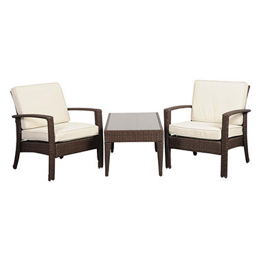 Cavalier Synthetic Brown Wicker Balcony Set with Off-White Cushions (3 pcs.)
