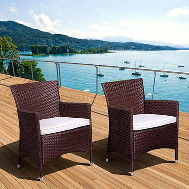 Andana Deluxe Synthetic Wicker Armchair Set, Brown (2 pcs.)