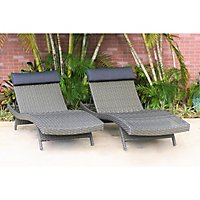 Cavalier Gray Synthetic Wicker Patio Lounge Chair With Cushion 2 Pcs