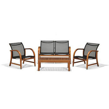 Sabadel Eucalyptus Deep Patio Seating Set (4 pcs.)