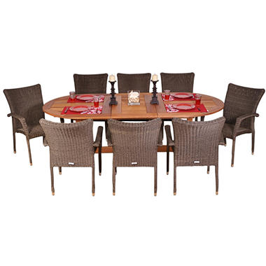 Catalunya Eucalyptus/Wicker Extendable Oval Patio Dining Set (9 pcs.)