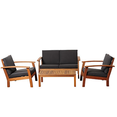 Valencia Eucalyptus Patio Deep Seating Set with Black Cushions (4 pcs.)