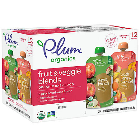 Plum Organics Stage 2 Organic Baby Food, AB & PBA Fruit & Veggie Variety Pack (4 oz., 12 pk.)