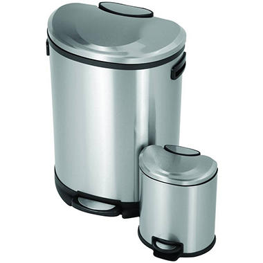 URISE® Semi-Round Stainless Steel Trash Cans - 2 ct.
