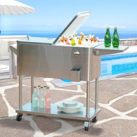 Sunjoy 80-Quart Stainless Steel Cooler