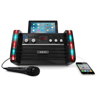 CD + G Karaoke Machine with Built-in Speakers, Lights and Tablet Cradle