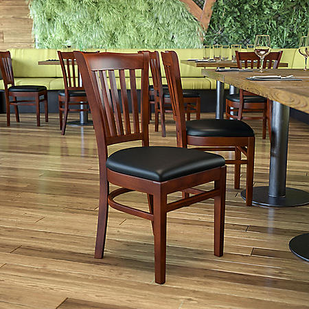 Hospitality Chair Mahogany Wood - Vertical Slat Back - Black Vinyl Upholstered Seat - 1 Pack