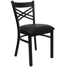 Hospitality Chair Black Metal - X-Back - Black Vinyl Upholstered Seat - 4 Pack