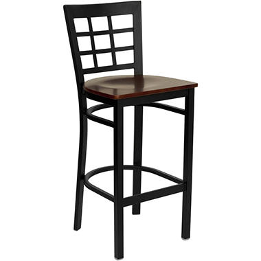 Hospitality Stool Black Metal - Window Back - Mahogany Finished Wood Seat - 4 Pack
