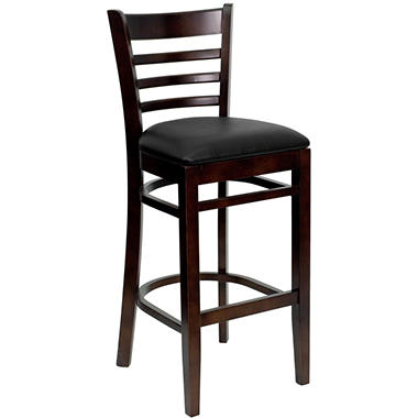 Hospitality Stool Walnut Wood - Ladder Back - Black Vinyl Upholstered Seat - 4 Pack