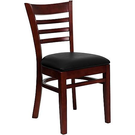 Hospitality Chair Mahogany Wood - Ladder Back - Black Vinyl Upholstered Seat - 4 Pack
