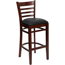 Hospitality Stool Mahogany Wood - Ladder Back - Black Vinyl Upholstered Seat - 8 Pack