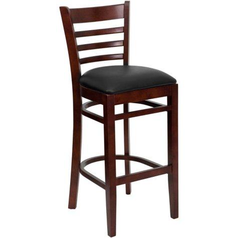 Hospitality Stool Mahogany Wood - Ladder Back - Black Vinyl Upholstered Seat - 8 Pack