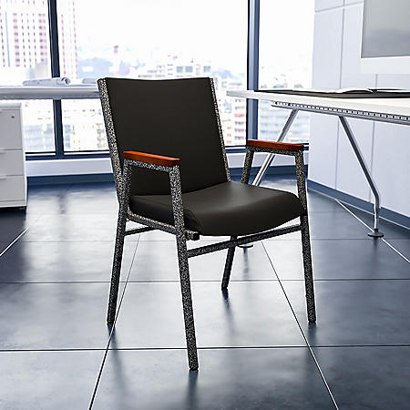 Hercules Padded Vinyl Stacking Chair with Arms - Black