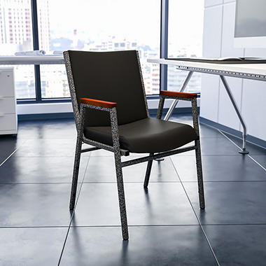 Hercules Padded Vinyl Stacking Chair With Arms   Black