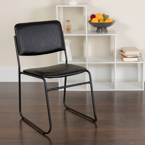 Hercules Vinyl Stacking Chair with Sled Base - Black