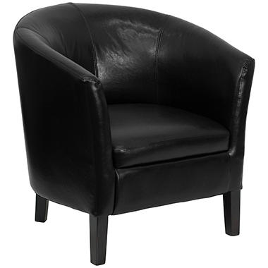 Flash Furniture Leather Barrel Shaped Guest Chair Black