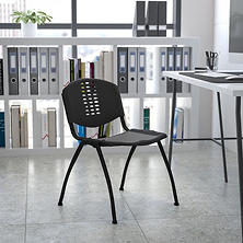 Hercules Stacking Chair with Perforated Back, Black