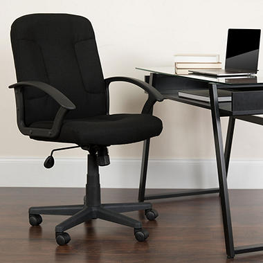 Flash Furniture Mid-Back Task Chair with Arms, Black