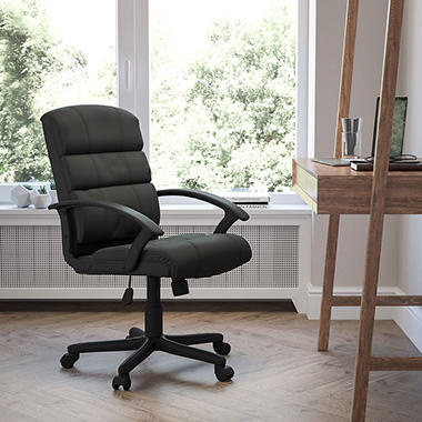 Flash Furniture Mid-Back Leather Office Chair, Black