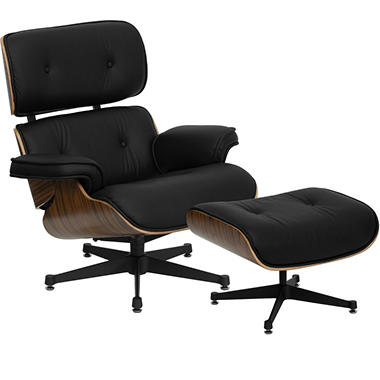 Hercules Presideo Series Top-Grain Italian Leather Lounge Chair & Ottoman Set, Black