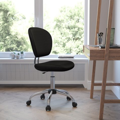 Flash Furniture Mid-Back Mesh Task Chair with Chrome Base, Black