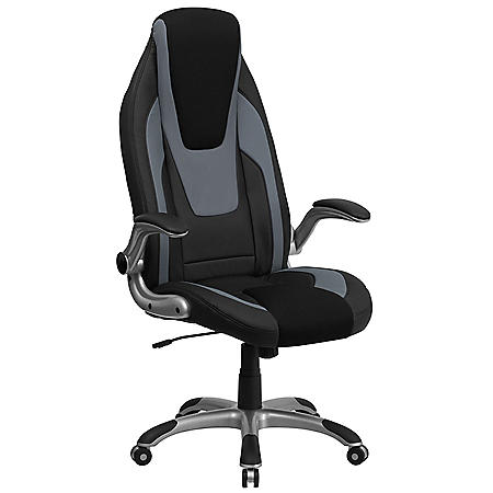 Flash Furniture High-Back Executive Office Chair with Flip Up Arms, Black/Gray