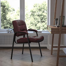 Flash Furniture Leather Reception Chair, Burgundy