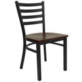 Hercules Ladder-Back Hospitality Chair, Black/Mahogany -  24 pack