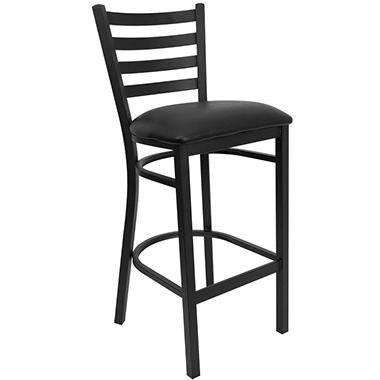 Hospitality Stool Black Metal - Ladder Back - Black Vinyl Upholstered Seat - 16 Pack