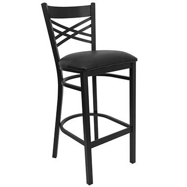 Hospitality Stool Black Metal - X-Back - Black Vinyl Upholstered Seat - 16 Pack