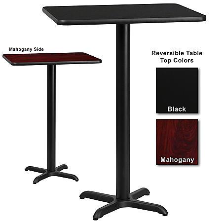 "30"" x 30"" Bar-Height Hospitality Table with X-Base, Black/Mahogany (6 Pack)"