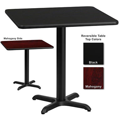 Hospitality Table  Square - Black/Mahogany - 30