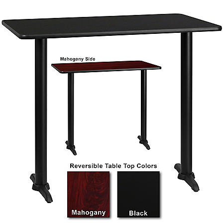 "30"" x 48"" Bar-Height Hospitality Table with T-Base, Black/Mahogany (1 Pack)"