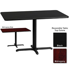 "Hospitality Table - Rectangular - Black/Mahogany - 30"" x 48"" - 6 Pack"