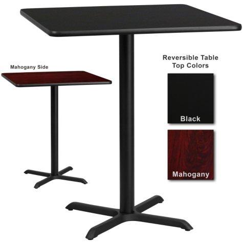 """Bar Height Hospitality Table - X-Base - Black/Mahogany - 36"""" x 36"""" - 6 Pack"""