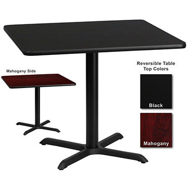 Hospitality Table  Square - Black/Mahogany - 36