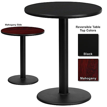 "Hospitality Table  Round - Black/Mahogany - 24"" x 24"" - 1 pk."