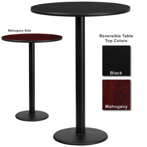 "Bar Height Hospitality Table  Round Base - Black/Mahogany - 30"" x 30"" - 1 Pack"