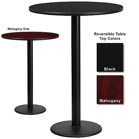 "30"" x 30"" Bar-Height Hospitality Table with Round Base, Black/Mahogany (6 Pack)"